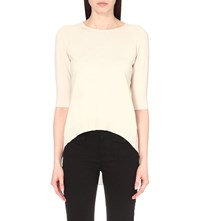 Karen Millen Chiffon Panel Knitted Jumper Cream