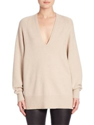 The Row Jabbie Wool And Cashmere V Neck Sweater Barley