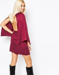 Motel Cape Sleeve Shift Dress With Open Back Red