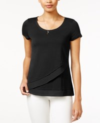 Maison Jules Asymmetrical Contrast Top Only At Macy's Deep Black