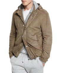 Brunello Cucinelli Suede Hooded Shirt Jacket Taupe
