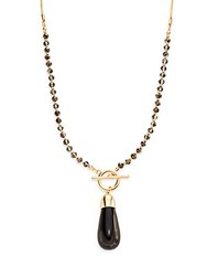 Stella Ruby Agate Pendant Necklace Black Gold
