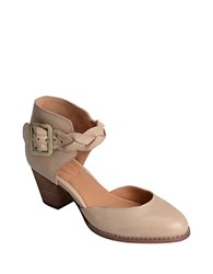 Corso Como Burlap Leather Ankle Strap Pumps Brown