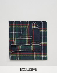Reclaimed Vintage Check Pocket Square In Blackwatch Green