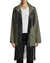 Alexander Wang Zip Front Leather Fringe Parka Army Women's