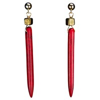 Brass Fusion Turquoise Stick Earrings With Brass Cube Red