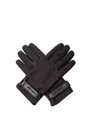 Giorgio Armani Wool And Leather Gloves Black