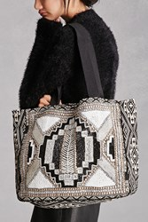 Forever 21 Alex And Max Sequined Tote Bag Black Silver