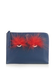 Fendi Bag Bugs Fox Fur And Leather Pouch