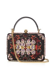 Alexander Mcqueen Butterfly Embroidered Satin Box Bag Black Multi