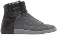 Maison Martin Margiela Grey And Black Suede Future High Top Sneakers