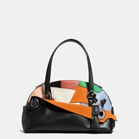 Coach 1941 Outlaw Satchel In Patchwork Leather Old Brass Black Multi
