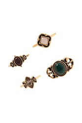 Forever 21 Faux Gem Midi Ring Set Antique Gold Multi