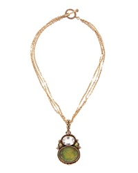 Stephen Dweck Three Strand Rock Crystal Pendant Necklace