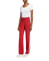 Michael Kors Mid Rise Straight Leg Track Pants Crimson Women's