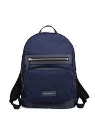 Burberry Calf Leather Trim Backpack Ink Blue