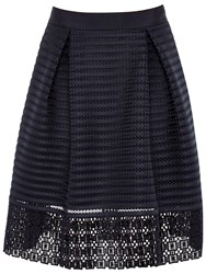 Ted Baker Lotee Sheer Panel Midi Skirt Navy