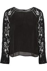 Chelsea Flower Abrielle Lace Paneled Crepe Top