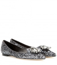 Dolce And Gabbana Crystal Embellished Sequin Ballerinas Silver