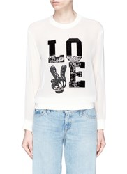 Mo And Co. 'Love' Mickey Mouse Sequin Chiffon Top White