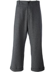 Ymc Cropped Wide Leg Trousers Grey