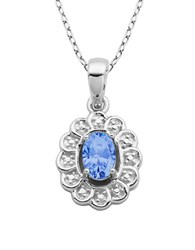 Lord And Taylor March Birthstone Aqua Cubic Zirconia Sterling Silver Pendant Blue