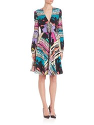 Etro Collage Stripe Long Sleeve Boho Dress Multi