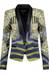 Just Cavalli Satin Trimmed Printed Jersey Blazer Midnight Blue