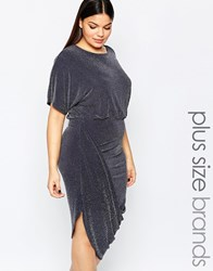Club L Plus Wrap Dress With Rouched Skirt In Glitter Fabric Grey