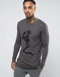 Religion Long Sleeve T Shirt In Double Layered Jersey And Embroidery Skeleton Black