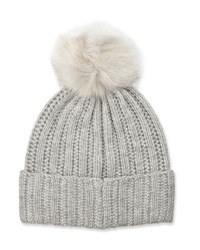 Neiman Marcus Knit Wool Blend Pompom Hat Gray