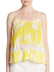 Bcbgeneration Pleated Lace Inset Tank Top Sun Beam