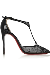 Christian Louboutin Salopatina 100 Patent Leather Trimmed Embellished Mesh Pumps