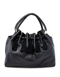 Steve Madden Braided Handle Suede Hobo Bag Black