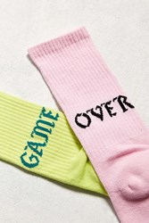 Urban Outfitters Game Over Sport Sock Lime