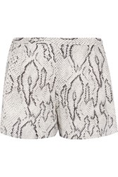 Haute Hippie Printed Silk Shorts White