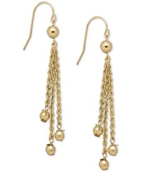 Macy's Rope And Bead Dangle Drop Earrings In 14K Gold Yellow Gold