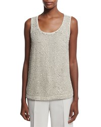 Lafayette 148 New York Cleo Sleeveless Sequined Front Suede Blouse Oro