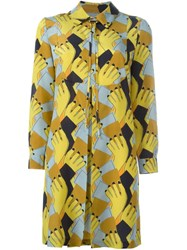 L'autre Chose Geometric Print Shirt Dress Yellow And Orange