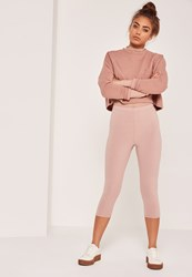Missguided Ribbed Cropped Leggings Nude Peach