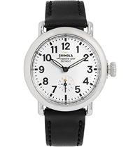 Shinola The Runwell Stainless Steel And Leather Watch 36Mm Black