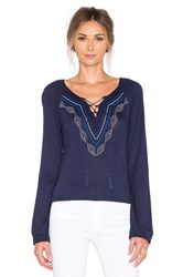 Sanctuary Lace Up Boho Top Navy