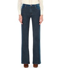 See By Chloe Suede Effect Flared High Rise Jeans Washed Indigo