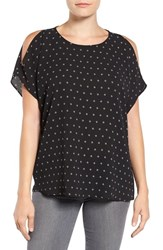 Gibson Women's Cold Shoulder Blouse Black Ivory Stitch