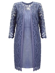 Adrianna Papell Lace Yoke Shimmer Dress And Duster Coat Steel Blue