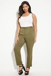 Forever 21 Plus Size Tapered Trousers Olive