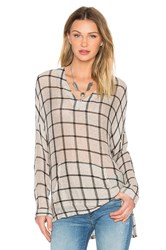 Stateside Navy Camel Plaid Tee Taupe