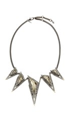 Alexis Bittar Pyramid Bib Necklace Gold Pyrite