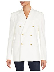 Kent And Curwen Double Breasted Long Blazer White