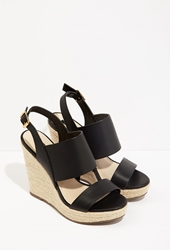 Forever 21 Faux Leather Wedge Espadrilles Black